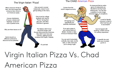 """Youre Doing It Right: The CHAD American Pizza  The Virgin Italian """"Pizza  So treasured that an entire  genre of restaurants are  devoted to serving it and  nothing else. You can find  pizzaria in every single  American town, no exceptions  Only served in normal  restaurants, doesn't even  get top billing on the menu  Comes from the  When someone thinks of  world's largest economy.  Italy, the first image that  comes to their mind is  an American pizza  a  Only loved by college  students who went to  Uneven distribution  Loved by literally  of sauce, cheese and  toppings. Crust isn't  even a perfect circle.  """"Roma"""" during their  All toppings and  ingredients  perfectly distributed  everyone, a feat no  other food has yet  to accomplish  gap year, and other  assholes in general.  are  If you get a pizza in  any country that isn't  Britain, Sweden or Italy,  it'll be an American Pizza  The Italians didn't know  Can be topped with  anything, a blank canvas  for culinary expression  Why are there leaves on it?  about the tomato until  Europe discovered the Americas  Italy didn't even have any  colonies, getting all of its  tomatoes from Spain. Pathetic  Had to travel to a  different continent to  You can eat it horizontally,  vertically, taco style, burrito  style, or with a fork and  you're doing it right.  A specific box and  knife were invented  discover its true potential.  just for it.  It's just bad Virgin Italian Pizza Vs. Chad American Pizza"""