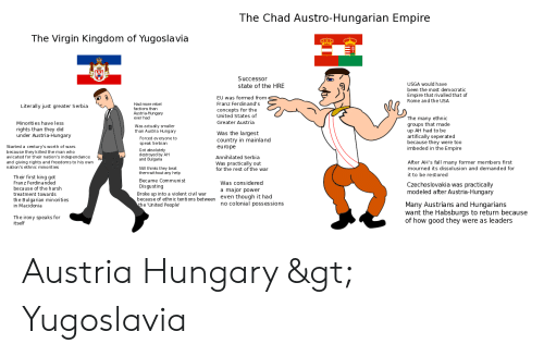 Greater Serbia: The Chad Austro-Hungarian Empire  The Virgin Kingdom of Yugoslavia  Successor  USGA would have  state of the HRE  been the most democratic  Empire that rivalled that of  Rome and the USA  EU was formed from  Franz Ferdinand's  rebel  factions than  Austria-Hungary  ever had  Literally just greater Serbia  concepts for the  United States of  Greater Austria  The many ethnic  groups that made  up AH had to be  artifically seper ated  because they were too  imbeded in the Empire  Minorities have less  Was actually smaller  than Austria Hungary  rights than they did  under Austria-Hungary  Was the largest  country in mainla nd  Forced everyone to  speak Serbian  arted a century's worth of wars  europe  Got absolutely  destroyed by AH  and Bulgaria  avicated for their nation's independance  Annihilated Serbia  and giving rights and freedoms to his own  nation's ethnic minorities  After AH's fall many former members first  mourned its dissolusion and demanded for  Was practically out  for the rest of the war  Still thinks they beat  them without any help  it to be restored  Their first king got  Became Communist  Franz Ferdin anded  because of the harsh  treatment towards  the Bulgarian minorities  in Macidonia  Was considered  Czechoslovakia was practically  modeled after Austria-Hungary  Disgusting  a major power  even though it had  no colonial possessions  Broke up into a violent civil war  entions between  the 'United People  Many Austrians and Hungarians  want the Habsburgs to return because  of how good they were as leaders  The irony speaks for  itself Austria Hungary > Yugoslavia