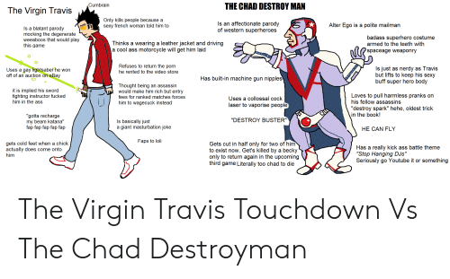 "cold feet: THE CHAD DESTROY MAN  Cumbrain  The Virgin Travis  Only kills people because a  sexy french woman told him to  Is an affectionate parody  of western superheroes  Alter Ego is a polite mailman  Is a blatant parody  mocking the degenerate  weeaboos that would play  this game  badass superhero costume  armed to the teeth with  Thinks a wearing a leather jacket and driving  a cool ass motorcycle will get him laid  spaceage weaponry  Refuses to return the porn  Is just as nerdy as Travis  but lifts to keep his sexy  buff super hero body  Uses a gay lightsaber he won  off of an auction on eBay  he rented to the video store  Has built-in machine gun nipples  Thought being an assassin  would make him rich but entry  it is implied his sword  fighting instructor fucked  him in the ass  Loves to pull harmless pranks on  his fellow assassins  fees for ranked matches forces  Uses a collossal cock  him to wagecuck instead  laser to vaporise people  ""destroy spark"" hehe, oldest trick  in the book!  ""gotta recharge  my beam katana""  fap fap fap fap fap  ""DESTROY BUSTER""  Is basically just  a giant masturbation joke  HE CAN FLY  Faps to loli  gets cold feet when a chick  actually does come onto  him  Gets cut in half only for two of him  to exist now. Get's killed by a becky  only to return again in the upcoming  third game Literally too chad to die  Has a really kick ass battle theme  ""Stop Hanging DJs""  Seriously go Youtube it or something The Virgin Travis Touchdown Vs The Chad Destroyman"