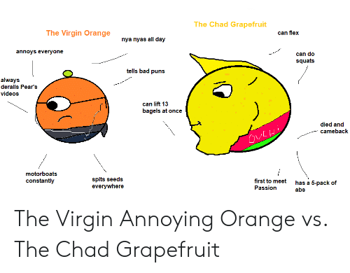 Bad Puns: The Chad Grapefruit  The Virgin Orange  can flex  nya nyas all day  annoys everyone  can do  squats  tells bad puns  always  derails Pear's  videos  can lift 13  bagels at once  died and  cameback  motorboats  spits seeds  everywhere  constantly  first to meet  has a 5-pack of  Passion  abs The Virgin Annoying Orange vs. The Chad Grapefruit
