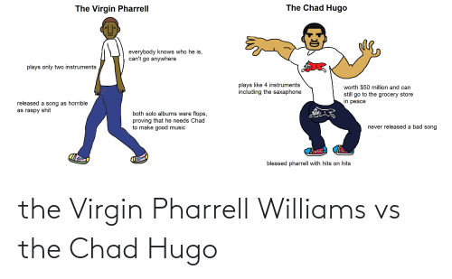 Pharrell Williams: The Chad Hugo  The Virgin Pharrell  everybody knows who he is,  can't go anywhere  plays only two instruments  plays like 4 instruments  including the saxaphone  worth $50 million and can  still go to the grocery store  in peace  released a song as horrible  as raspy shit  both solo albums were flops,  proving that he needs Chad  to make good music  never released a bad song  blessed pharrell with hits on hits the Virgin Pharrell Williams vs the Chad Hugo