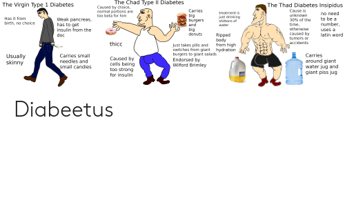 Type-1 Diabetes: The Chad Type II Diabetes  The Virgin Type 1 Diabetes  The Thad Diabetes Insipidus  Caused by choice,  normal portions are  too beta for him  Carries  Cause is  treatment is  no need  to be a  big  burgers  and  unknown  just drinking  shittons of  Has it from  Weak pancreas,  has to get  30% of the  birth, no choice  number,  time,  otherwise  water  big  donuts  insulin from the  uses a  caused by  latin word  Ripped  body  from high  hydration  doc  tumors or  accidents  thicc  Just takes pills and  switches from giant  burgers to giant salads  Endorsed by  Wilford Brimley  Carries  Usually  skinny  Carries small  needles and  Caused by  cells being  around giant  water jug and  giant piss jug  small candies  too strong  SKIM MILK  for insulin Diabeetus