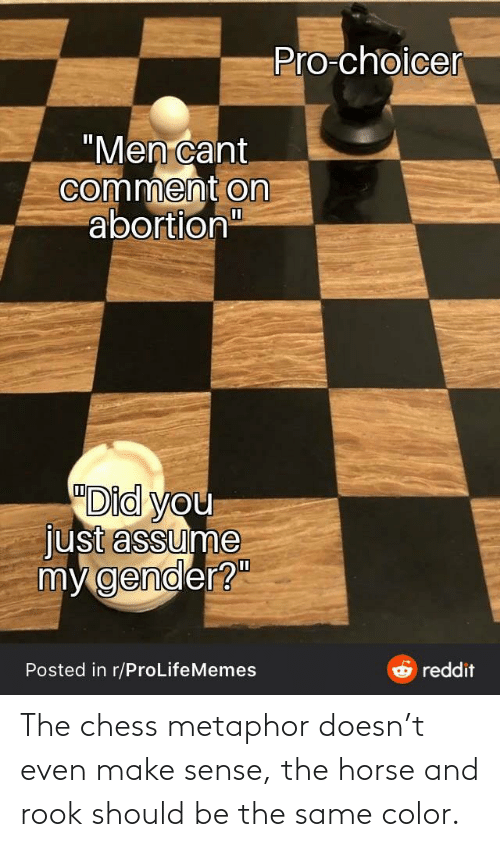 Horse: The chess metaphor doesn't even make sense, the horse and rook should be the same color.