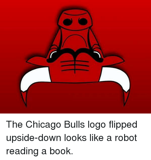 Chicago, Chicago Bulls, and Bulls: The Chicago Bulls logo flipped upside-down looks like a robot reading a book.