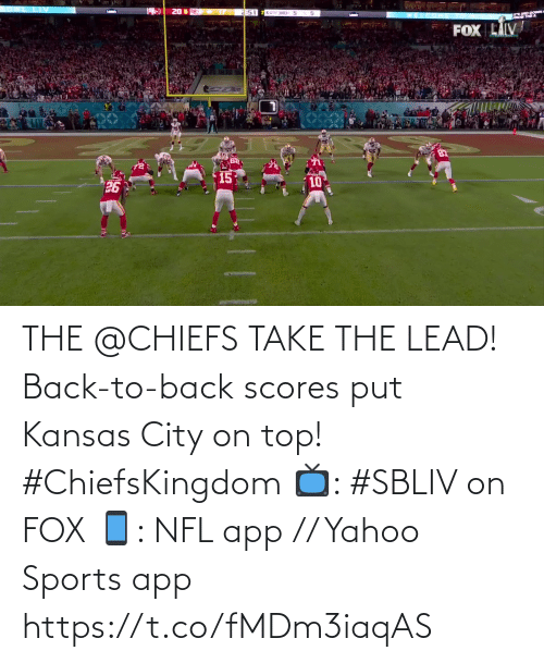 Back to Back: THE @CHIEFS TAKE THE LEAD!  Back-to-back scores put Kansas City on top! #ChiefsKingdom  📺: #SBLIV on FOX 📱: NFL app // Yahoo Sports app https://t.co/fMDm3iaqAS