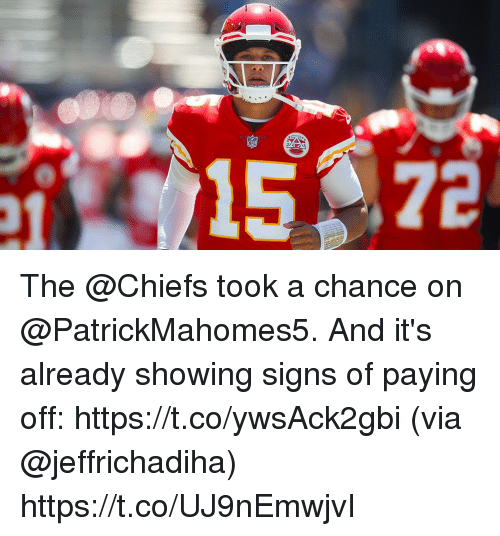 Memes, Chiefs, and 🤖: The @Chiefs took a chance on @PatrickMahomes5.  And it's already showing signs of paying off: https://t.co/ywsAck2gbi (via @jeffrichadiha) https://t.co/UJ9nEmwjvI