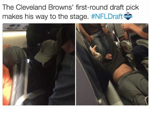 Cleveland Browns, Nfl, and Browns: The Cleveland Browns' first-round draft pick  makes his way to the stage  #NFLDraft  RAFI