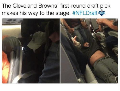 Cleveland Browns, Memes, and Browns: The Cleveland Browns' first-round draft pick  makes his way to the stage  #NFLDraft  AFT