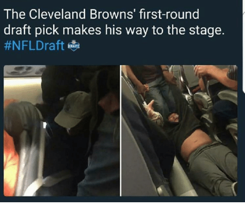 Cleveland Browns, Nfl, and NFL Draft: The Cleveland Browns' first-round  draft pick makes his way to the stage.  #NFL Draft