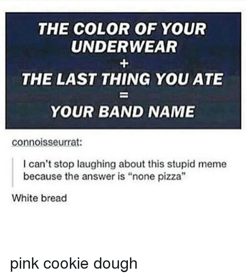 """Stupid Memes: THE COLOR OF YOUR  UNDERWEAR  THE LAST THING YOU ATE  YOUR BAND NAME  connoisseurrat:  I can't stop laughing about this stupid meme  because the answer is """"none pizza""""  White bread pink cookie dough"""