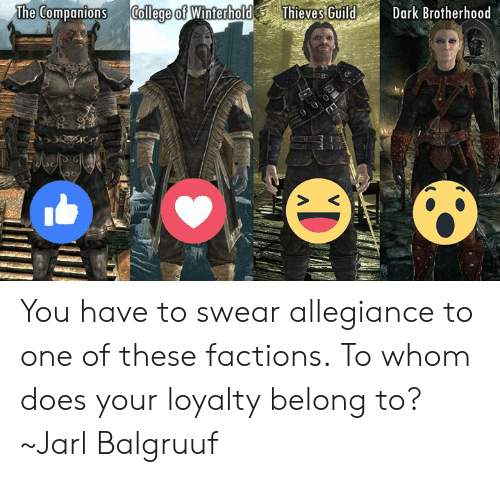 To Whom: The Companions College of WinterholdThieves GuildDark Brotherhood You have to swear allegiance to one of these factions. To whom does your loyalty belong to?  ~Jarl Balgruuf