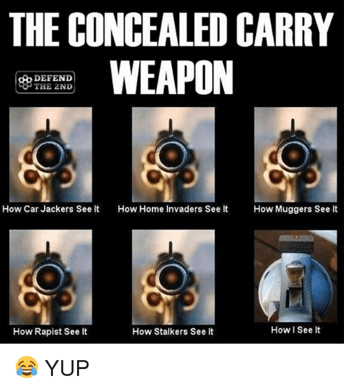 stalkers: THE CONCEALED CARRY  WEAPON  DEFEND  THE 2ND  How Car Jackers See It  How Home Invaders See It How Muggers See It  How I See it  How Rapist See lt  How Stalkers See It 😂 YUP