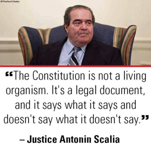 """Memes, Antonin Scalia, and Constitution: """"The Constitution is not a living  organism. It's a legal document,  and it says what it says and  doesn't say what it doesn't say.""""  - Justice Antonin Scalia"""