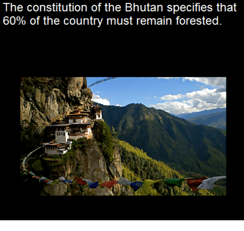 Bhutan: The constitution of the Bhutan specifies that  60% of the country must remain forested