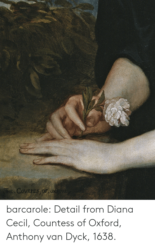 Detail: THE COvnreS OF Ox barcarole: Detail from Diana Cecil, Countess of Oxford, Anthony van Dyck, 1638.