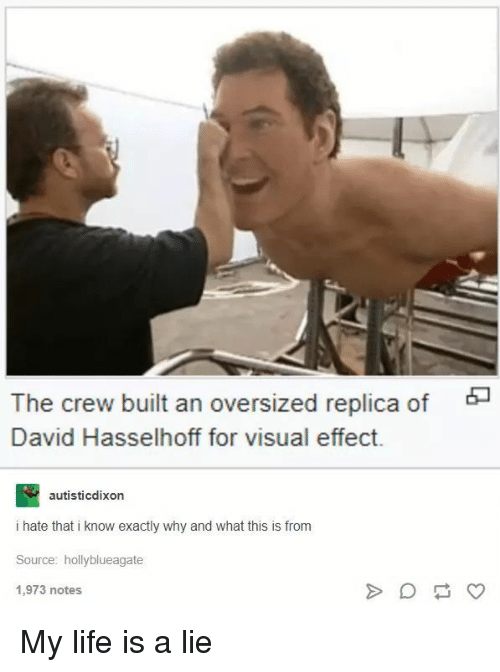 The Crew: The crew built an oversized replica of  David Hasselhoff for visual effect.  autisticdixon  i hate that i know exactly why and what this is from  Source: hollyblueagate  1,973 notes My life is a lie