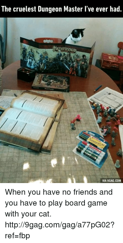 Dungeon Master: The cruelest Dungeon Master l've ever had.  HFINDER  SATH  VIA 9GAG.COM When you have no friends and you have to play board game with your cat. http://9gag.com/gag/a77pG02?ref=fbp