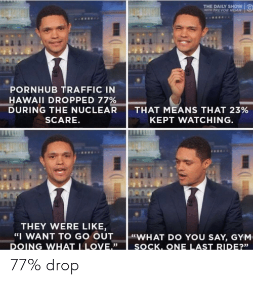 """daily show: THE DAILY SHOW  WITH TREVOR NOAN  PORNHUB TRAFFIC IN  HAWAII DROPPED 77%  DURING THE NUCLEAR  SCARE.  THAT MEANS THAT 23%  KEPT WATCHING  THEY WERE LIKE,  WANT TO GO OUT  """"WHAT DO YOU SAY, GYM  DOING WHAT LOVE.""""  35  SOCK. ONE LAST RIDE?""""  23s   77% drop"""