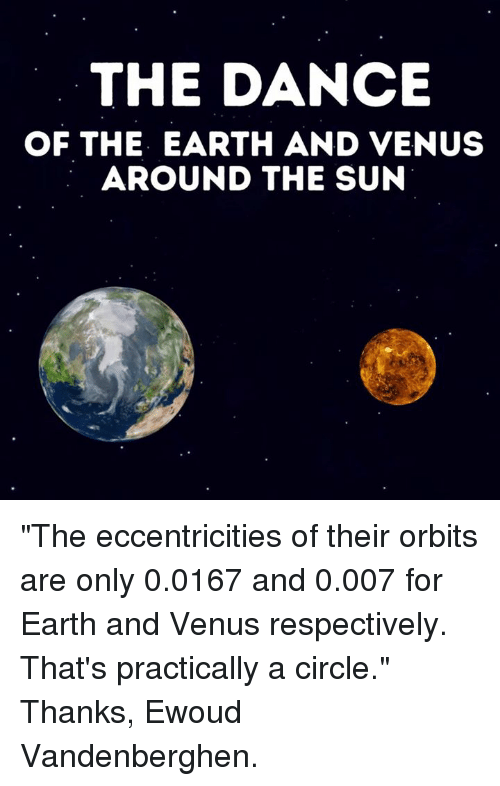 """eccentricity: THE DANCE  OF THE EARTH AND VENUS  AROUND THE SUN """"The eccentricities of their orbits are only 0.0167 and 0.007 for Earth and Venus respectively. That's practically a circle.""""    Thanks, Ewoud Vandenberghen."""