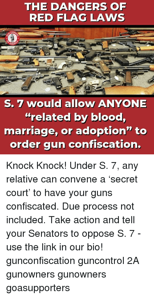 """red flag: THE DANGERS OF  RED FLAG LAWS  AMER  S. 7 would allow ANYONE  """"related by blood,  marriage, or adoption"""" to  order gun confiscation. Knock Knock! Under S. 7, any relative can convene a 'secret court' to have your guns confiscated. Due process not included. Take action and tell your Senators to oppose S. 7 - use the link in our bio! gunconfiscation guncontrol 2A gunowners gunowners goasupporters"""