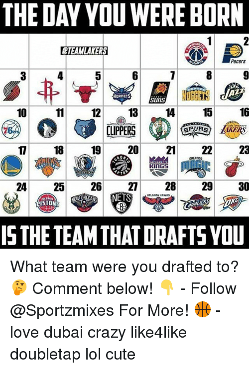 Crazy, Cute, and Lol: THE DAY YOU WERE BORN  CTEAMLAKERS  P8CBIS  HORNETS  SUIIS  DIPPERS  17 18 19 20 21 22 23  24 25  26  27 28  29  30  ISTHETEAMTHATDRAFTS YOU What team were you drafted to? 🤔 Comment below! 👇 - Follow @Sportzmixes For More! 🏀 - love dubai crazy like4like doubletap lol cute