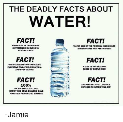 Drug Dealer, Memes, and Serial: THE DEADLY FACTS ABOUT  WATER!  FACT!  FACT!  WATER CAN BE CHEMICALLY  WATER ONE OF THE PRIMARYINGRIDIENTS  SYNTHESIZED BY BURNING  IN HERBICIDES AND PESTICIDES!!!  ROCKET FUEL!!!  FACT!  FACT!  OVER CONSUMPTION CAN CAUSE  WATER IS THE LEADING  EXCESSIVE SWEATING, URINATION,  CAUSE OF DROWNING!!!  AND EVEN DEATH!!!  FACT!  FACT!  100%  100 PERCENT OF ALLPEOPLE  EXPOSED TO WATER WILL DIE!  OF ALL SERIAL KILLERS,  RAPIST AND DRUG DEALERS HAVE  ADMITTED TO DRINKING WATER!!! -Jamie