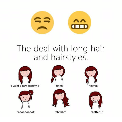 "Memes, Hair, and Hairstyles: The deal with long hair  and hairstyles  i want a new hairstyle""  new hairstyle""  hmmm""  ""better!!!"""