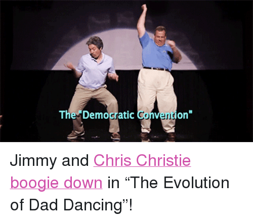 "Chris Christie: The Democratic  Gonventi""  on <p>Jimmy and <a href=""https://www.youtube.com/watch?v=3A2IXsB7C0Q"" target=""_blank"">Chris Christie boogie down</a> in &ldquo;The Evolution of Dad Dancing&rdquo;!</p>"