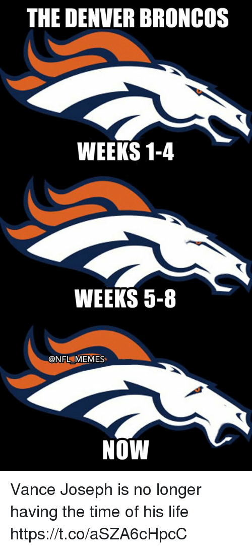 Denver Broncos, Football, and Life: THE DENVER BRONcOs  WEEKS 1-4  WEEKS 5-8  @NFL MEMES  NOW Vance Joseph is no longer having the time of his life https://t.co/aSZA6cHpcC