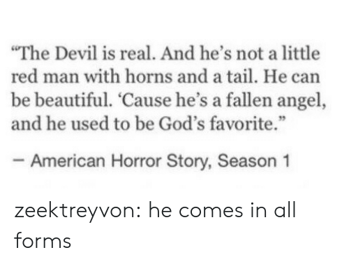 """American Horror Story: The Devil is real. And he's not a little  red man with horns and a tail. He can  be beautiful. 'Cause he's a fallen angel,  and he used to be God's favorite.""""  - American Horror Story, Season 1 zeektreyvon:  he comes in all forms"""