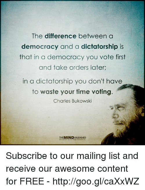 a comparison of democracy and dictatorship What's the difference between democracy and republic the key difference between a democracy and a republic lies in the limits placed on government by the law, which.