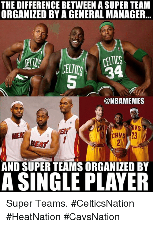 Nba, Super, and Team: THE DIFFERENCE BETWEEN A SUPER TEAM  ORGANIZED BY A GENERAL MANAGER  @NBAMEMES  AND SUPER TEAMSORGANIZED BY  A SINGLEPLAYER Super Teams. #CelticsNation #HeatNation #CavsNation