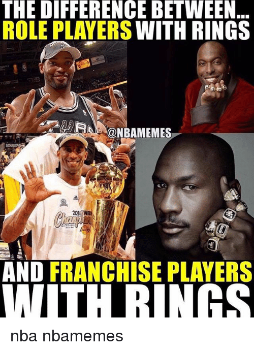 Basketball, Nba, and Sports: THE DIFFERENCE BETWEEN  ROLE PLAYERS WITH RINGS  ONBAMEMES  201 N  AND FRANCHISE PLAYERS  WITHRINGS nba nbamemes