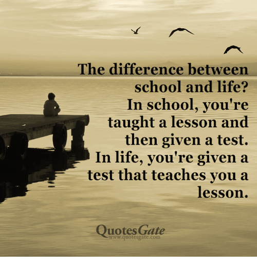 The Difference Between School And Life? Re Taught A Lesson