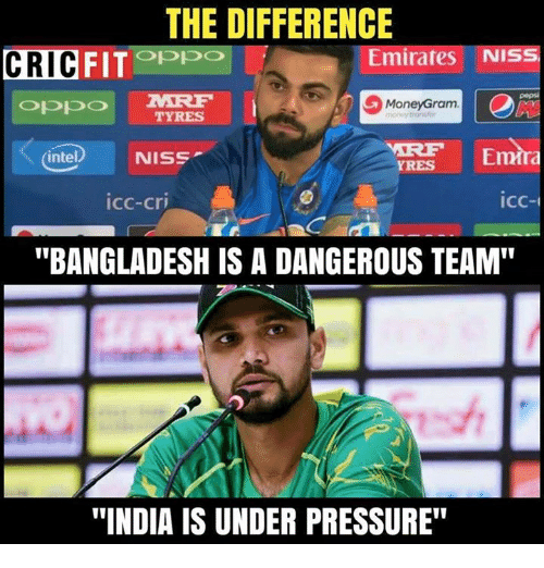 """Intell: THE DIFFERENCE  CRIC  FITOPpo  Emirates NIS  pepsi  MoneyGram  TYRES  intel) NISS  Emra  YRES  icc-cri  icc-  """"BANGLADESH IS A DANGEROUS TEAM""""  """"INDIA IS UNDER PRESSURE"""""""