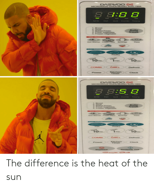 Heat: The difference is the heat of the sun