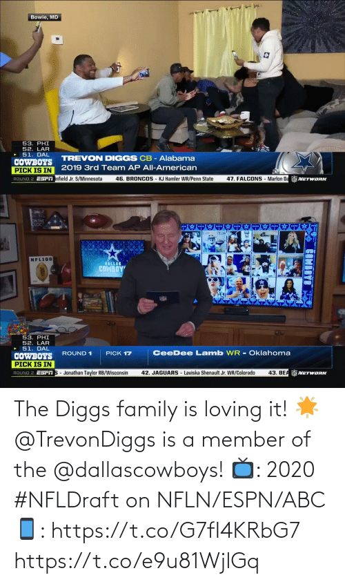 Member: The Diggs family is loving it! 🌟  @TrevonDiggs is a member of the @dallascowboys!  📺: 2020 #NFLDraft on NFLN/ESPN/ABC 📱: https://t.co/G7fI4KRbG7 https://t.co/e9u81WjlGq