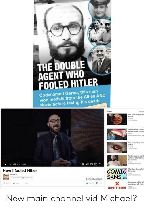 Mrgear: THE DOUBLE  AGENT WHO  FOOLED HITLER  Codenamed Garbo, this man  won medals from the Allies AND  Nazis before faking his death  Autopla  Up next  How I will destory ma  missile  Vsauce3  1,322,774 views  924  EXPERIMENT Glowing  degree KNIFE CRAYO  MrGear  Recommended for you  NE  6:34  How I will put Space i  eyeball  Vsauce2  1,050,053 views  11:43  Want to see me slowl  my towel after coming  the shower?  Vsauce  9:42 Recommended for you  0:10/18:36  Why I love Diary of a 1  Kid books  How I fooled Hitler  COMIC  SANS  Vsauce  Vsauce  Recommended for you  11,312,541  Subscribed  9:53  3,649,052 views  Soon there will be NO  usernames left, hehe  Add to  149 770 1791  Share  *** More  Vsauce  username  5,505,015 views New main channel vid Michael?