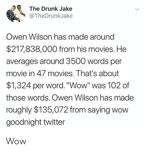 "owen: The Drunk Jake  @TheDrunkJake  Owen Wilson has made around  $217,838,000 from his movies. He  averages around 3500 words per  movie in 47 movies. That's about  $1,324 per word.""Wow"" was 102 of  those words. Owen Wilson has made  roughly $135,072 from saying wow  goodnight twitter Wow"