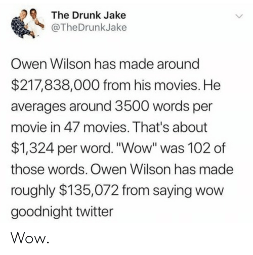 "owen: The Drunk Jake  @TheDrunkJake  Owen Wilson has made around  $217,838,000 from his movies. He  averages around 3500 words per  movie in 47 movies. That's about  $1,324 per word. ""Wow"" was 102 of  those words. Owen Wilson has made  roughly $135,072 from saying wow  goodnight twitter Wow."