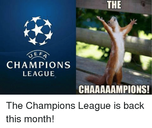 Soccer, Champions League, and Back: THE  E F  CHAMPIONS  LEAGUE  CHAAAAAMPIONS! The Champions League is back this month!