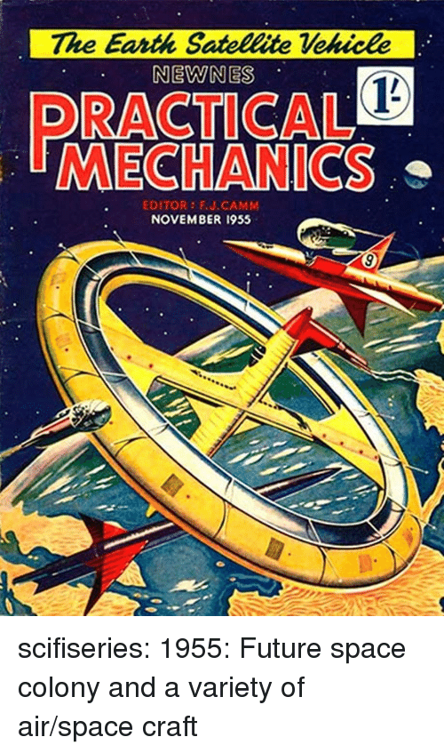 Colony: The Earth Satellite Vekicle  NEWNES  RACTICAL  MECHANICS  EDITOR FU.CAMM  NOVEMBER 1955 scifiseries:  1955: Future space colony and a variety of air/space craft