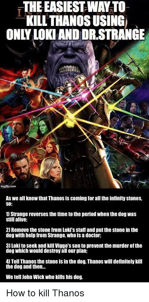 how to kill: THE EASIEST WAY TO  KILL THANOS USING  ONLY LOKI AND DR.STRANGE  As we all know that Thanos is coming for all the infinity stones,  SO:  1 Strange reverses the time to the period when the dog was  still alive;  21 Remove the stone from Loki's staff and put the stone in the  dog with help from Strange, who is a doctor;  3) Loki to seek and kill Viggo's son to prevent the murder of the  dog which would destroy all our plan;  4) Tell Thanos the stone is in the dog. Thanos will definitely kill  the dog and then...  We tell John Wick who kills his dog. <p>How to kill Thanos</p>