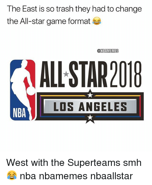 All Star, Basketball, and Nba: The East is so trash they had to change  the All-star game format  NBAMEMES  AL- STAR201  LOS ANGELES  NBA West with the Superteams smh 😂 nba nbamemes nbaallstar