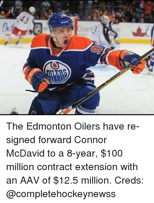 oilers: The Edmonton Oilers have re-signed forward Connor McDavid to a 8-year, $100 million contract extension with an AAV of $12.5 million. Creds: @completehockeynewss