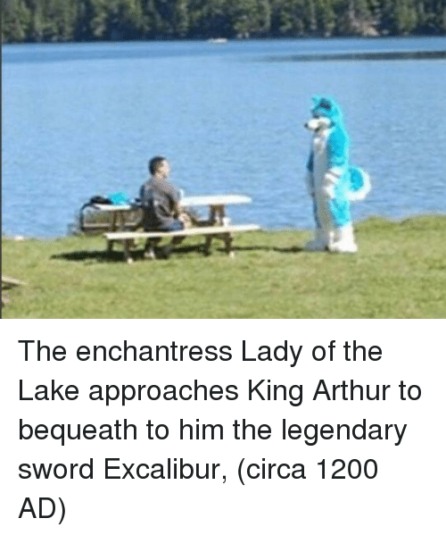 King Arthur: The enchantress Lady of the Lake approaches King Arthur to bequeath to him the legendary sword Excalibur, (circa 1200 AD)