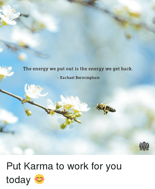 Energy, Memes, and Work: The energy we put out is the energy we get back.  - Rachael Bermingham Put Karma to work for you today 😊