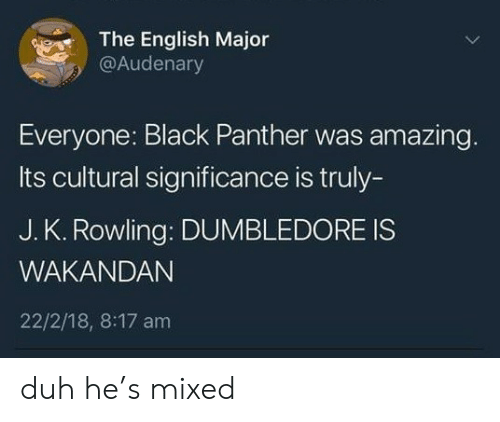 English Major: The English Major  @Audenary  Everyone: Black Panther was amazing.  Its cultural significance is truly-  J. K. Rowling: DUMBLEDORE IS  WAKANDAN  22/2/18, 8:17 am duh he's mixed