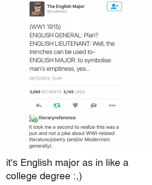 English Major: The English Major  @Audenary  (WW1 1915)  ENGLISH GENERAL: Plan?  ENGLISH LIEUTENANT Well, the  trenches can be used to-  ENGLISH MAJOR: to symbolise  man's emptiness, yes...  08/12/2015, 13:44  3,069  RETWEETS 5,145  LIKES  literary reference  It took me a second to realize this was a  pun and not a joke about WWI-related  literature/poetry (and/or Modernism  generally). it's English major as in like a college degree :,)