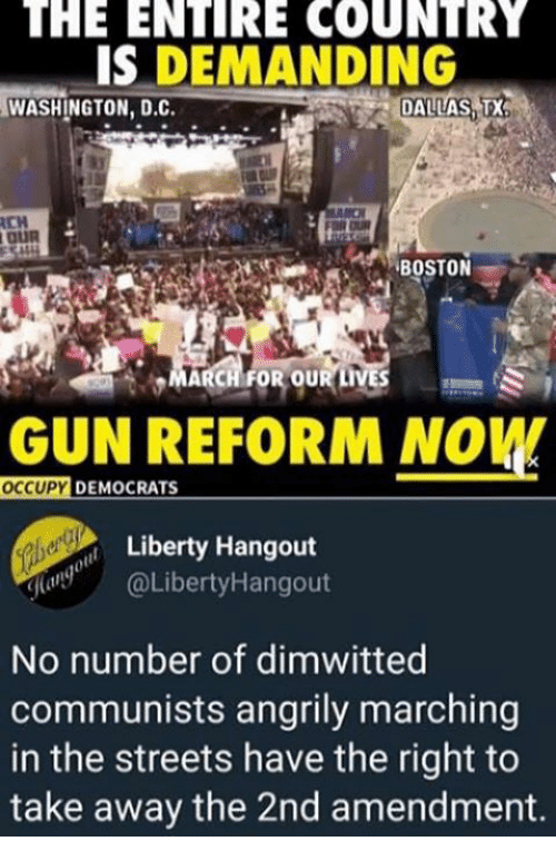 2nd Amendment: THE  ENTIRE  COUNTRY  IS DEMANDING  WASHINGTON, D.C.  DALLAS,T  CH  MARCH FOR OUR LIVES  GUN REFORM NOW  OCCUPY  233  DEMOCRATS  Liberty Hangout  (LibertyHangout  No number of dimwitted  communists angrily marching  in the streets have the right to  take away the 2nd amendment.